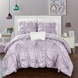 Chic Home DS2235-AN 4 Piece Hamilton Floral Pinch Pleat Ruffled Designer Embellished Duvet Cover Set, King, Lavender