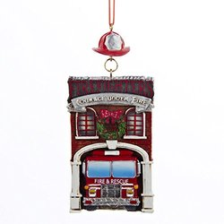 "4.25"" Fire House with Fire Engine Truck ""FIREFIGHTERS COURAGE UNDER FIRE"" Ornament"