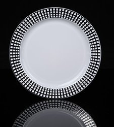 """Home Value 7.5"""" Elegant Round Plastic Dinner Plates, White and Silver, 120 Count"""