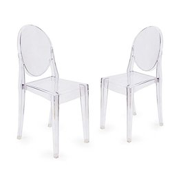 Adeco Ghost Chair Clear, Outdoor or Dining Living Room, Side Chair Armless Set of 2