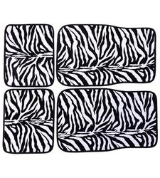 ADECO FL0119 Universal Fit Car Floor Mats 4-Piece - Zebra Pattern