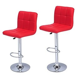 Adeco Bright Red Leatherette Faux Tufted Adjustable Barstool Chair Chrome Finish Pedestal Base (Set of two)