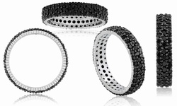 2CT Black Diamond Triple Row Eternity Band In Sterling Silver - Size: 7