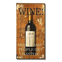 "Adeco Decorative Wood Wall Hanging Sign Plaque ""Wine!"" Home Decor, Orange Brown"