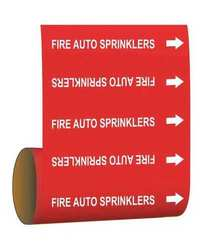 Brady Pipe Marker - Fire Auto Sprinklers - Red (15541)