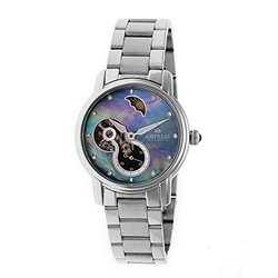 Empress Theodora Ladies Watch: Silver Band/ Black Dial (EM1202)