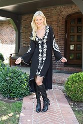 High Low Printed Dress: Black/large