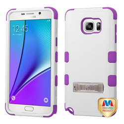 Samsung Galaxy Note 5 Natural Tuff Hybrid Case Stand- Ivory/White/Purple