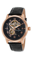 Optima Automatic Black Genuine Leather and Dial Rose-Tone SS