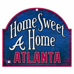 "MLB Atlanta Braves 10-by-11 Wood ""Home Sweet Home"" Sign"