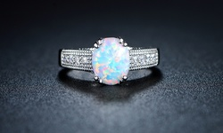18K White Gold Plated 2CTTW White Fire Opal Engagement Ring - Size: 5