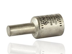 "Dual Rated Compression Connector, Solid Pin Terminal For Copper and Aluminum Conductor - PTS Series, 300 MCM Wire Size, 4/0 Pin Size, 1.10"" OD, 2.75"" Length, Brown"