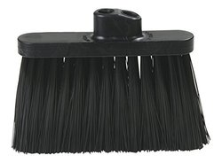 "Carlisle 3687403 Flo-Pac Duo-Sweep Warehouse Broom Head, Black Plastic Block, 7""-Long Black Synthetic Bristles, 13"" W x 9"" H Overall (Pack of 12)"