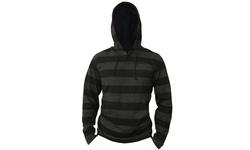 Bargain Hunters Men's Lightweight Striped Pullover Hoodie - Black - XL