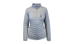 Galaxy Women's Packable Puffer Jacket with Zipper - Silver/Grey - Size: XL
