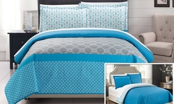 Chic Home Geometric Design Printed Quilt Set 2Pcs - Blue - Size: Twin