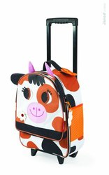 Janod Child Cow Trolley Rolling Suitcase - Multi