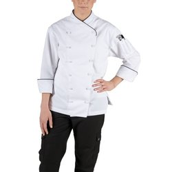 San Jamar LJ008-XL Ladies Poly Cotton Corporate Chef Jacket, X-Large, Black Piping-LJ008-XL