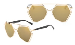 Dasein Collection Octagonal Angles Women's Sunglasses Gold
