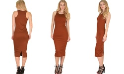 Lyss Loo Women's Body Con Midi Dress - Rust - Size: Large