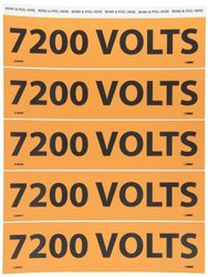 Electrical Markers 7200 Volts 2.25X9 Adhesive Vinyl 25/Pk 25