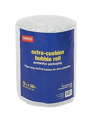 "Staples 5/16"" T x 12"" W x 30' L Extra-Cushion Bubble Roll - (27176-US/CC)"