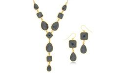 Women's 18K Gold-Plated Statement Y-Shape Necklace & Earring Set - Grey