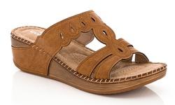 Lady Godiva Comfort Wedge Sandal - Tan - Size: 6 (2402-41)