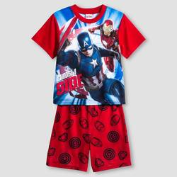 Avengers Captain America Kids Boys 2-Piece Pajama Set - Red/Blue - Size: S