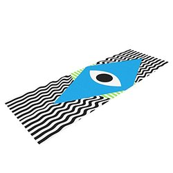 "Kess InHouse Vasare Nar ""Eye Optical"" Yoga Exercise Mat - Black/Blue"