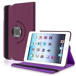 Insten 360-Degree Swivel Leather Case for Apple iPad mini - Purple