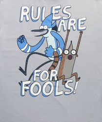 "Fifth Sun Men's ""RULES ARE FOR FOOLS"" Quotes T-shirt - Silver - Size: M"