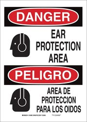 "14x10"" Ear Protection Area/Area Proteccion Para Los Oidos Bilingual Sign"
