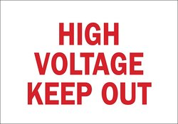 "Brady 4X20"" Legend ""High Voltage Keep Out"" Electrical Hazard Sign"