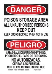 Brady Poison Storage Area All Unauthorized Persons Keep Out Bilingual Sign
