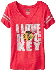 NHL Chicago Blackhawks Girl's Love the Puck S/S Tee - Red - Size: Large