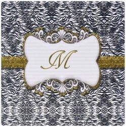 3dRose Elegant Back/White Print w/ Gold Frame Monogram Letter M Mouse Pad