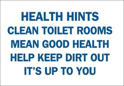 "Brady 10"" X 14"" Health Hints Clean Toilet Fiberglass Maintenance Sign"