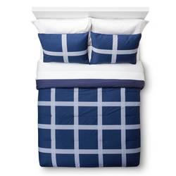 Room Essentials 3-pc Linework Mini Plaid Comforter Set - Blue - Full/Queen