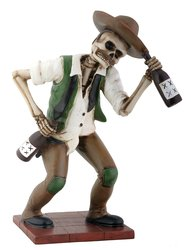 YTC El Borracho Green Skeleton Holding Liqour Bottle Collectible Figurine