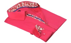 Men's Modern Fit Button-Down Shirts with Contrast Trim - Fuchsia - Size: M