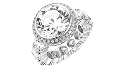 18K White Gold Plated 4Ct CZ Halo Ring - Size: 7