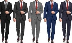 Sanetti Slim Fit 2-piece Suit: Grey / 40sx34w