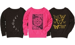 Ladies Graphic Slouchy Pullover: Moon Phases Side Hit/large