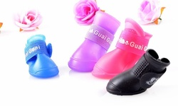 Guaiguai Dog Shoes Set of 4 - Blue - Size: Small