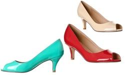 Riverberry Women's Lydia Open Toe Patent Heel Pumps - Black - Size: 10