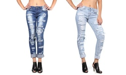 VIP Jean Women's Stretchy Skinny Denim Jeans - Acid Wash - Size: 5-6