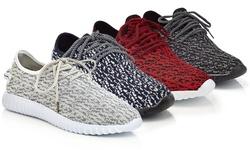 Men's Knit Fashion Sneakers: Black - 10