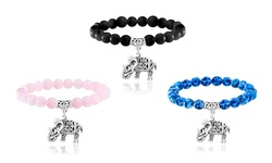 Carolyn Jane's Jewelry Oxidized Elephant Bead Bracelet with Onyx Gemstone