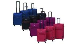 Rivolite Ultra Lightweight Spinner Soft Luggage 3 Piece Set - Blue